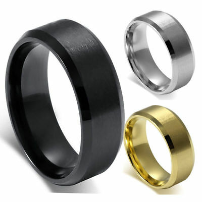 Men's 8mm Classic Traditional Wedding Band Brushed Center Stainless Steel Ring