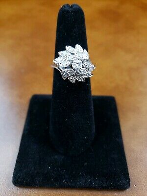 Ladies Diamond Cluster/Cocktail Ring 14K White Gold 56/100 ct. Size 7 Floral