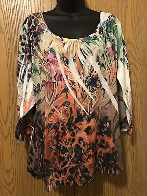 21e4af92ddc Notations Top Womens Plus Size 2X 3 4 Sleeve Multi Color Floral Butterfly  Shirt