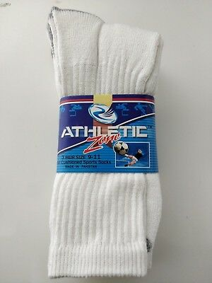 New 3 Pairs Mens White Solid Sports Crew Socks Cotton Long Size 9-11, 10-13