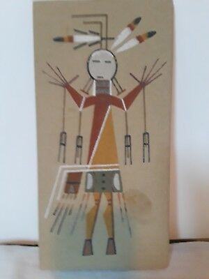 """Navajo Native American Sand Art Painting """"Holy Boy"""" Signed By Lester Johnson"""