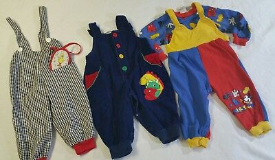 VINTAGE 80s BOY'S Small Clothing Lot 12 to 24 Months Overall Jumpers Lot of 3