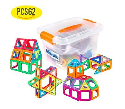 62 Pieces Magnet Tiles Building Magic Blocks Educational Learning Kids Game