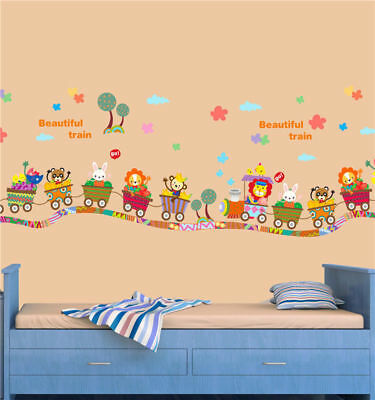 Cartoon-Animal-Zoo-Circus-Train-Children-DIY-Removable-Kids-Wall-Stickers-Decals