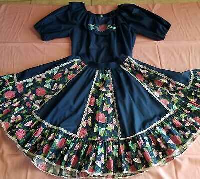 Navy Blue With Roses Butterflies Sq Dnc Outfit  Ruffles  Popular Malco Modes Med