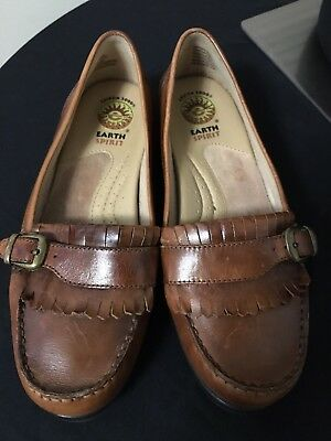 Earth Spirit Penny Women Brown Leather Penny Loafer Size 9w Clothing, Shoes & Accessories