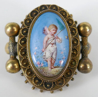 Old Antique Hand Painted Victorian Brooch Pin Marked 14K Gold