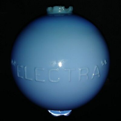 Antique Circa 1880-1920`s Blue Glass Embossed Electra Rd. Lightning Rod Ball