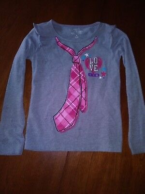 Girls top Gray Long sleeved Faded Glory size 8 Fake tie