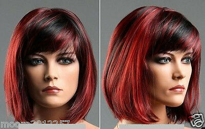 New Fashion lady's hair Vogue short red mixed black color wig Wigs