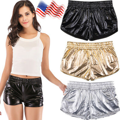 Shiny Dance Shorts Yoga Workout Beach Casual Patent Leather Shorts Hot Pants US