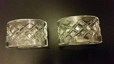 2-Waterford Crystal Alana / Comeraugh Napkin Ring Set Of 2~Ireland~Signed