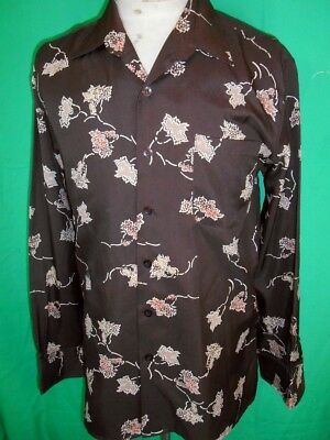 Vintage 1970s Dark Brown Patterned Polyester Long Sleeve Disco Party Shirt L