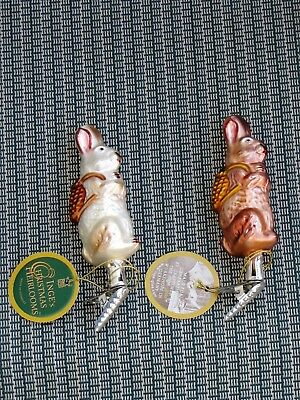 2 Vintage Inge's Christmas Heirlooms BUNNY RABBIT Holiday Ornaments Made Germany