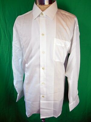 Vintage 70s White Cotton Paris Luxe Dress Shirt New/Old Stock - Never Worn 17 XL