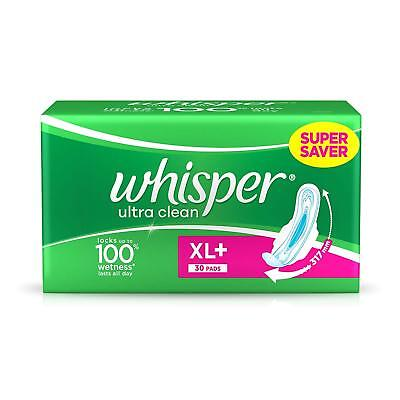 Sanitary Pads WHISPER Ultra Plus -30 Pieces (XL +) With Wetness Lasts All Day GR