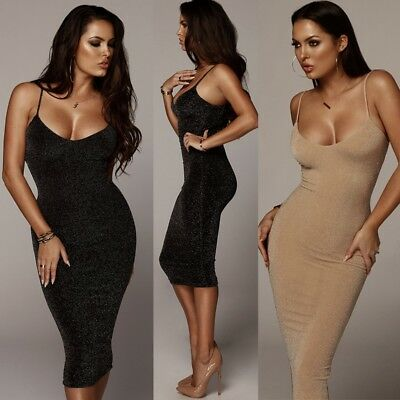 Women Sexy Sleeveless Backless Party Mini Club Cocktail Slim Slip Dress Bodycon