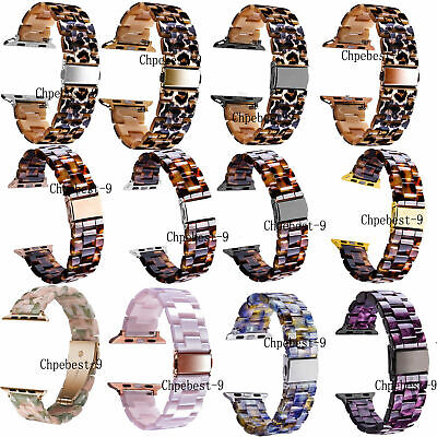For Apple iWatch 38 40 42 44mm Bracelets Leopard Tortoise Resin Watch Strap Band