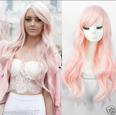 Female Wavy no Lace Wig fashion long curly light pink hair full wigs