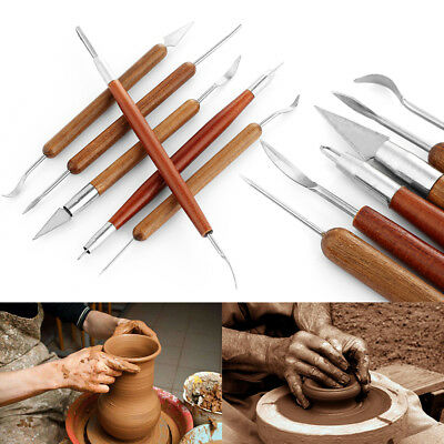 Wood Handle Wax Carving Shapers Pottery Tool Polymer Modeling Clay Sculpting