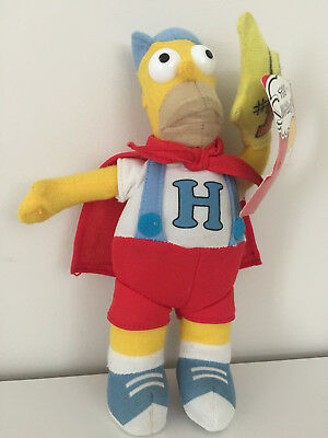 The Simpsons HOMER Simpson Superhero Red Cape Plush Soft Toy Super Hero 2011