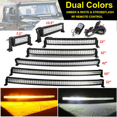 """7"""" 13.5 22 32 42 50 52inch Amber/White/Strobe Led Offroad Light Bar Dual Colors"""