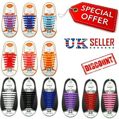 Easy No Tie Elastic shoelaces Trainer lace 100% Silicon for Adult & Kids UK