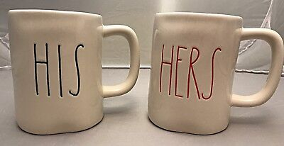 """New Rae Dunn Artisan Colletion By Magenta """" His & Hers"""" Set Mugs! Red & Blue"""
