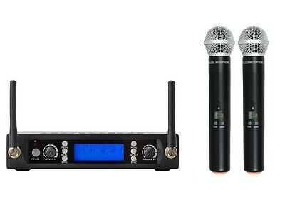 Dual UHF Wireless Microphone System Professional Dual Handheld Cordless Mic Set