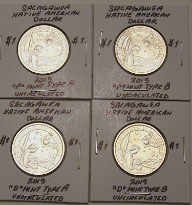 Sacagawea 2019 Uncirculated Native American Dollar Set of 4 (P & D - Type A & B)