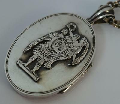 "Victorian Greek God Design Large Solid Silver Locket Pendant with 16"" Chain"