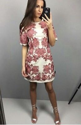 56299a143a NEW ASOS FLORAL Shift Dress US 6 UK10 Ruffle Sleeve Bold Abstract ...