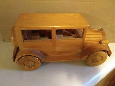 Vintage Wooden Handcrafted Antique Classic Car Model Hand Made Collectible