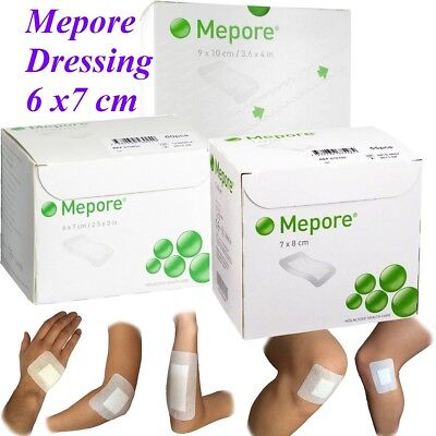 Mepore Self Adhesive First Aid Dressings For Skin Cuts Burns Wounds - 6 x 7cm