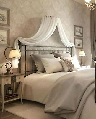 Adult BED CANOPY Set WHITE CREAM  corona with Wall frame Drapes & Beaded Ties