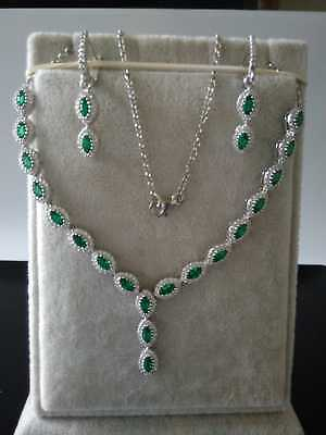 AAA Quality Sterling 925 Silver Jewelry Marquise Emerald Necklace,Earrings Set