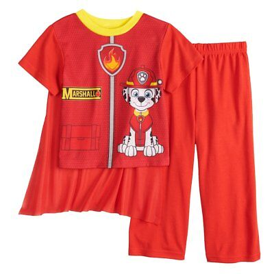NWT Boys Size 4T Paw Patrol Marshall Pajamas w Cape! Halloween Costume and PJs!