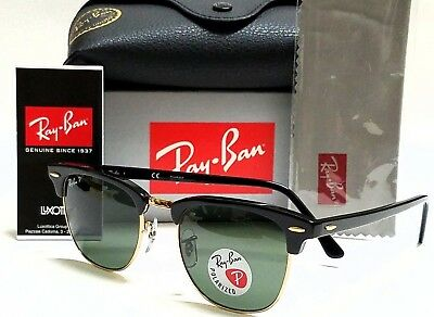 d18194dbf81b9f Authentic Ray-Ban Clubmaster RB3016 901 58 Black Gold Green Polarized Lens  51mm