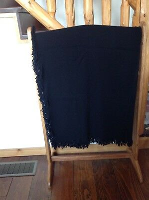 """Amish Hand Made Black Wool Blanket 65"""" X 62"""" Carriage Sleigh Lap Plain Clothing"""