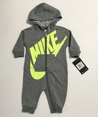 962bee02632f NIKE FUTURA INFANT Coverall Hoodie One Piece Outfit 6M Grey Yellow ...