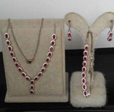 AAA Quality Sterling 925 Silver Jewelry Madagascar Red Ruby Lady Set