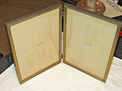 1940s Vintage Antique Gold Brass Metal Double Bi-Fold 8 x 10 Photo Frame Classic