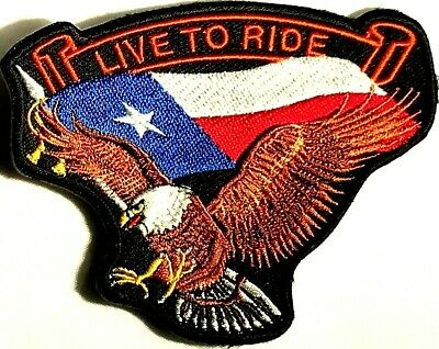 Live To Ride Texas Flag Eagle Embroidered Biker Motorcycle Iron/Sew Patch N-19