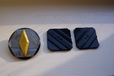 Vintage Art Deco buttons Celluloid Early Plastic Bakelite? Lot of three buttons
