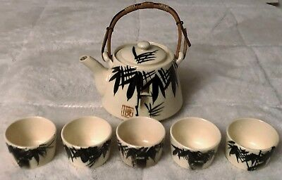 OMC Otagiri Japan Oriental Tea Pot Saki Cups Stoneware Pottery Wooden Handle