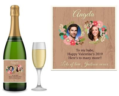 PERSONALISED VALENTINES PROSECCO RED WHITE ROSE WINE CHAMPAGNE BOTTLE LABEL  V13