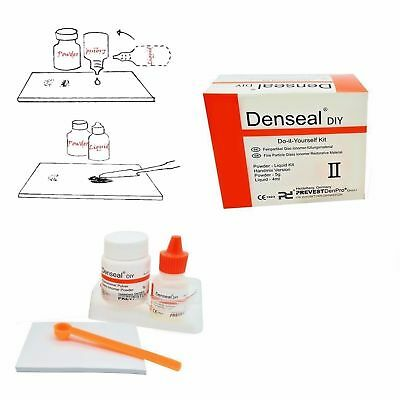 Denseal Permanent Tooth Fix Filling White Dentist Cement High Strength Kit DIY .