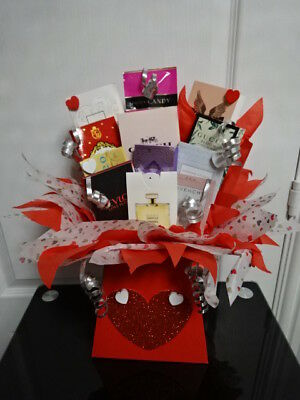 MY VALENTINE Perfume Vials Flower Style Bouquet Samples Hearts Red Gift Set Love
