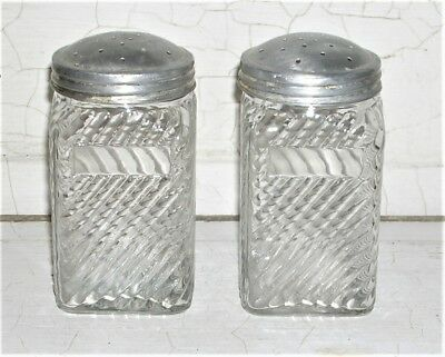 Vintage Depression Glass Large Clear Shakers Diagonal Ribs Design Owens-Illinois