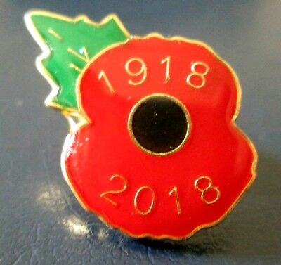 OFFICIAL 1918 - 2018 POPPY LAPEL PIN BADGE - MINT CONDITION